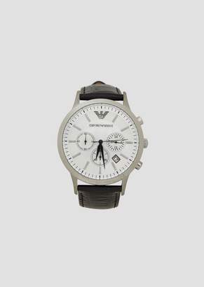 Emporio Armani Chronograph With Steel Case And Leather Strap With Crocodile-Effect