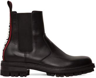 DSQUARED2 Leather Chelsea Boots W/ Logo Tape