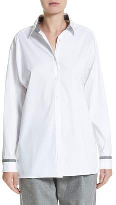 Lafayette 148 New York Jessie Crystal & Chain Trim Blouse