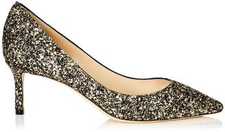 Jimmy Choo ROMY 60 Gold Mix Star Coarse Glitter Fabric Pointy Toe Pumps