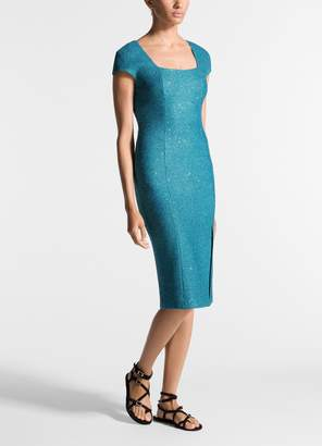 St. John Luxe Sequin Tuck Knit Cap Sleeve Dress