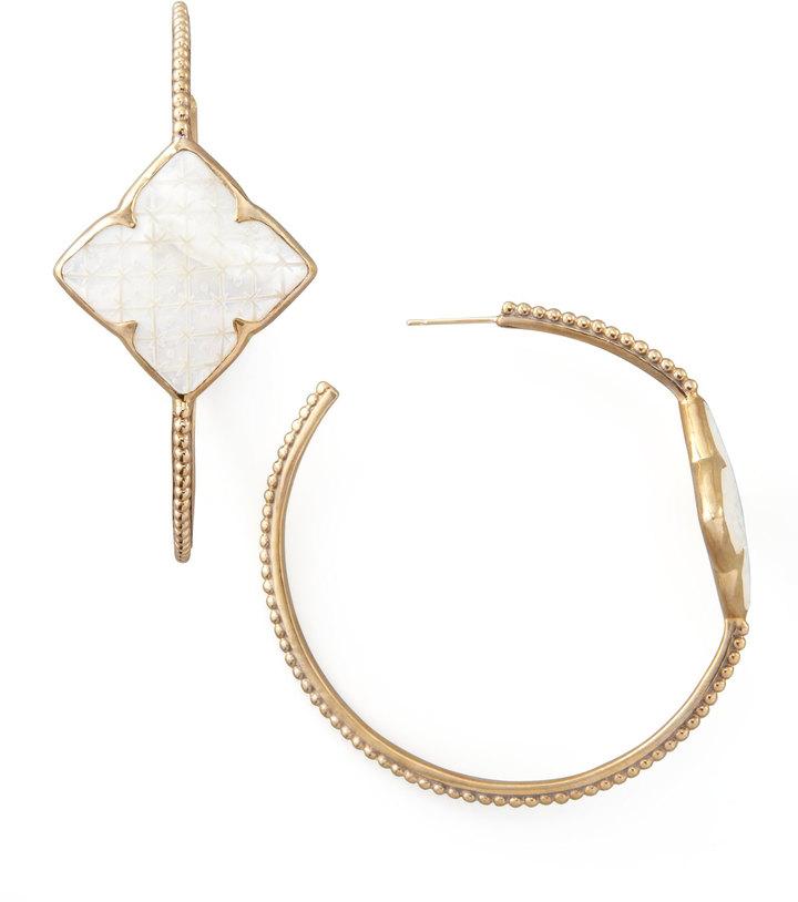 Stephen Dweck Mother-of-Pearl Clover Hoop Earrings