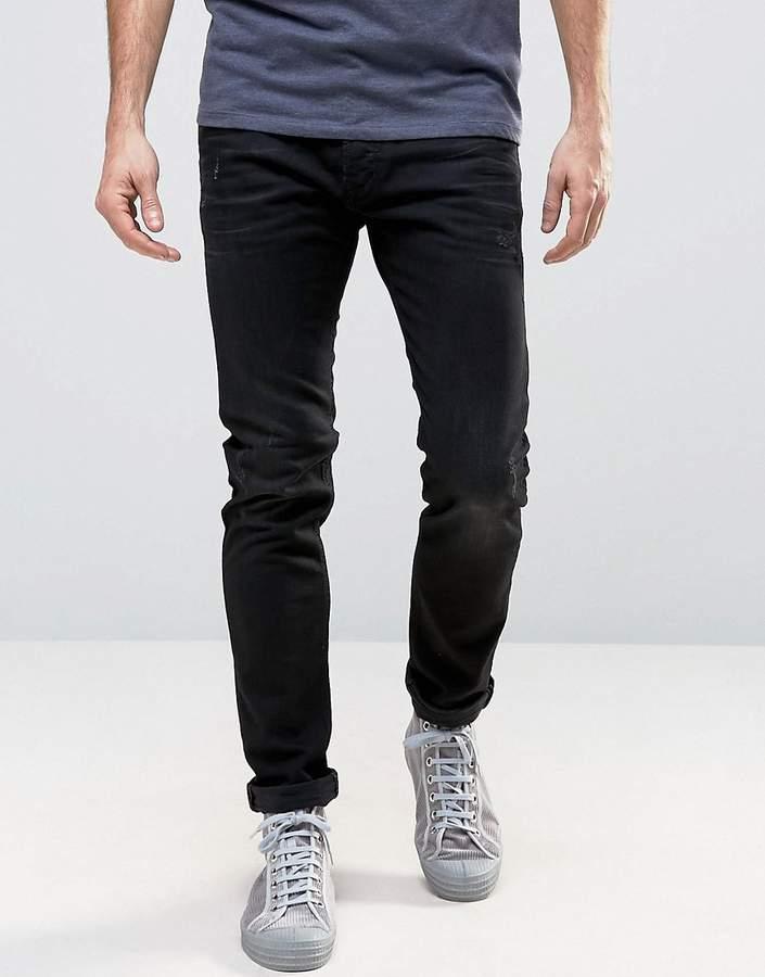 DieselDiesel Tepphar Skinny Jeans 679f Distressed Black Wash