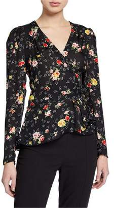 Veronica Beard Kiona Floral Button-Front Blouse