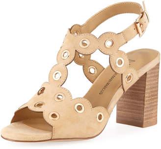 Neiman Marcus Brice Suede Grommet-Trim Sandals, Camel