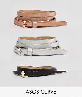 Asos DESIGN Curve 3 pack metallic waist and hip belts