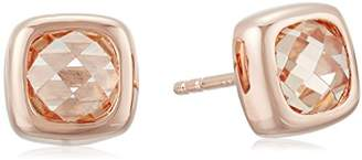 Rose Gold Plated Sterling Silver Light Champagne Cubic Zirconia Contemporary Bezel Set Design Stud Earrings