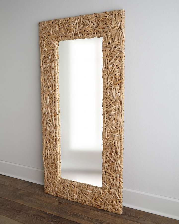 Horchow Seagrass Random Weave Floor Mirror