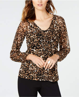 INC International Concepts I.n.c. Animal-Print Lace-Up Top, Created for Macy's