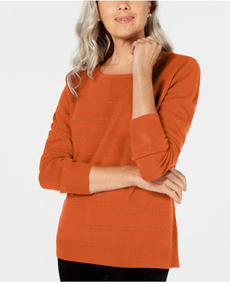 Karen Scott Textured-Stripe Sweater