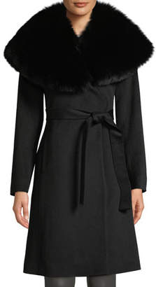 Fleurette Oversize Fur-Collar Wool Wrap Coat