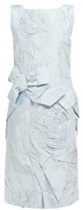 Calvin Klein Bow Applique Silk Taffeta Dress - Womens - Light Blue