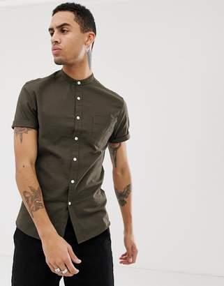 Asos Design DESIGN casual skinny fit oxford shirt with grandad collar in khaki