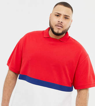 Collusion COLLUSION Plus color blocked polo in blue and red