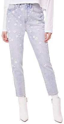 Juicy Couture Floral Embellished Denim Girlfriend Jean