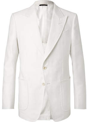 Tom Ford White Shelton Slim-Fit Cotton And Linen-Blend Suit Jacket