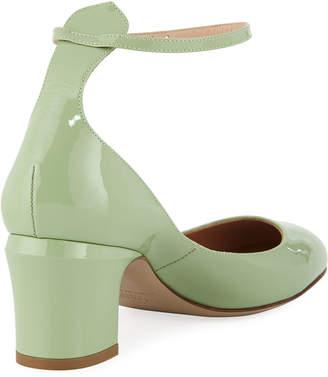 Valentino Tango Patent Block-Heel Ankle-Wrap Pumps