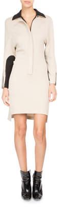 Neiman Marcus Atlein Bicolor Zip-Front Polo Dress