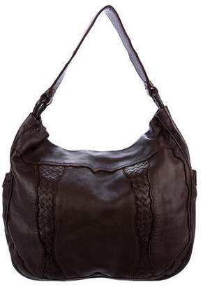 Bottega Veneta Intrecciato-Trimmed Leather Hobo