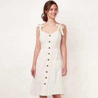 Lauren Conrad Women's Solid Button-Front Dress