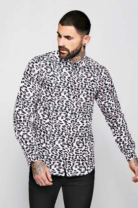 boohoo Pink Animal Print Long Sleeve Shirt