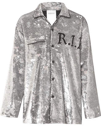 Ashish Sequined Georgette Shirt - Silver