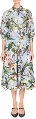 Erdem Adrienne Bird-Print A-Line Poplin Midi Dress