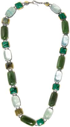 Bottega Veneta - Oxidized Silver Multi-stone Necklace - Dark green $3,200 thestylecure.com