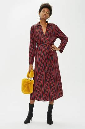 Topshop PETITE Print Horn Button Midi Shirt Dress