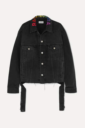 Balenciaga Embroidered Oversized Denim Jacket - Black
