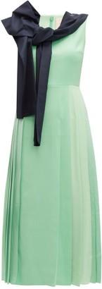 Roksanda Tie Neck Pleated Midi Dress - Womens - Light Green