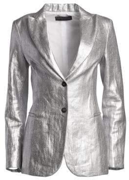 Fabiana Filippi Metallic Linen Two-Button Blazer