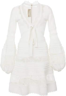 Elie Saab Lace Panel Crepe De Chine Long Sleeve Dress