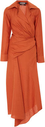 Jacquemus Sabah Draped Linen And Cotton-Blend Shirt Dress