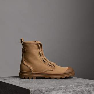 Burberry Zipped Cotton Canvas Boots