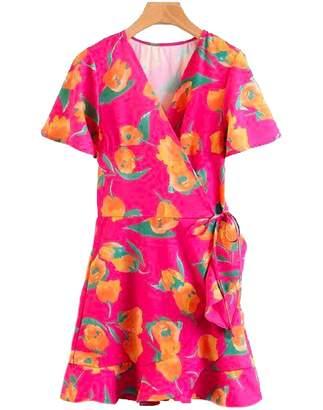 Goodnight Macaroon 'Zendaya' Fuchsia Floral Print Wrap Dress
