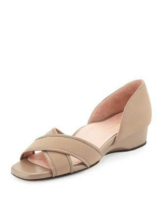 Taryn Rose Kaida Crisscross Demi-Wedge Sandal, Quartz $199 thestylecure.com