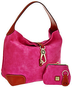 Dooney & Bourke Suede Hobo with Logo Lock and Accessories $238 thestylecure.com