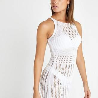 River Island White crochet midi dress