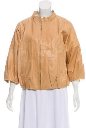 Tory Burch Leather Three-Quarter Length Sleeve Jacket