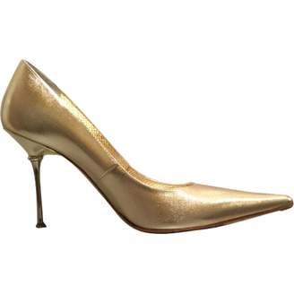 Gianmarco Lorenzi Gold Leather Heels