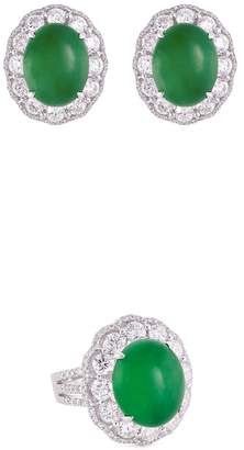 LC Collection Jewellery Diamond jade 18k gold scalloped ring