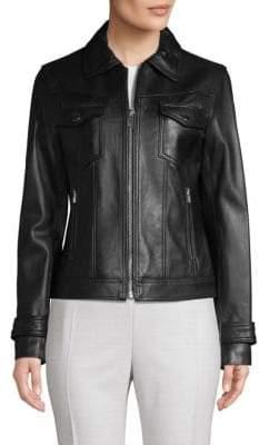 T Tahari Esther Leather Trucker Jacket