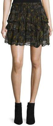 Iro Dicie Tiered Chiffon Camo Skirt, Black/Khaki $350 thestylecure.com