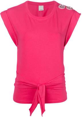 Pinko knot front and embellished shoulder blouse