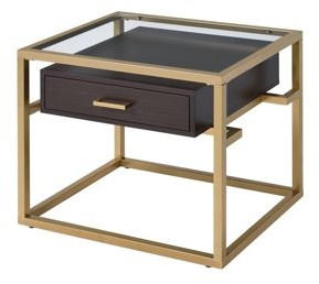 ACME Furniture ACME Youssef 1 Drawer End Table in Clear Glass and Gold