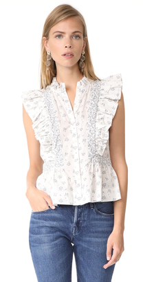 La Vie Rebecca Taylor Sleeveless Breeze Print Top $195 thestylecure.com