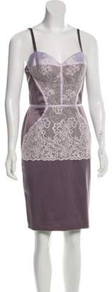 Just Cavalli Lace-Trimmed Knee-Length Dress w/ Tags Purple Lace-Trimmed Knee-Length Dress w/ Tags