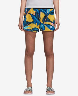 adidas Tropical-Print Satin Shorts