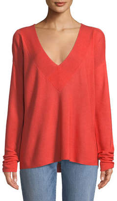 Eileen Fisher Silky Tencel V-Neck Boxy Sweater